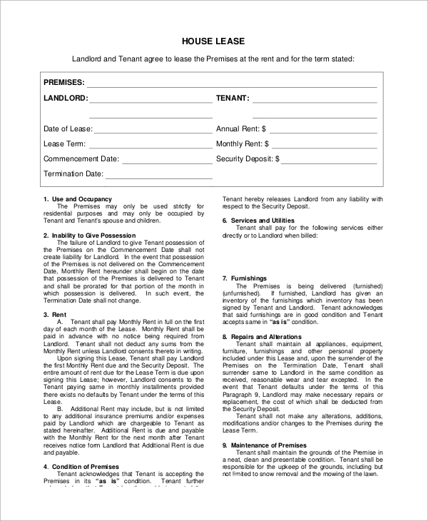 Sample Lease Agreement Form 8 Examples In Pdf