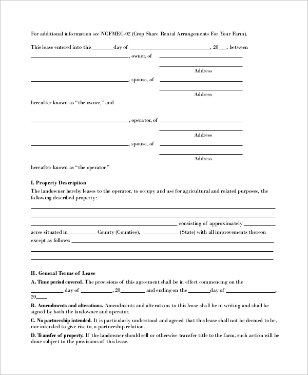 farm lease agreement form