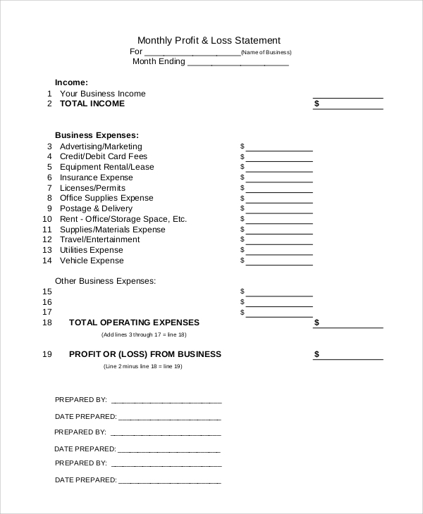 Sample Profit and Loss Form 9 Examples in PDF Word – Loss and Profit Statement Form