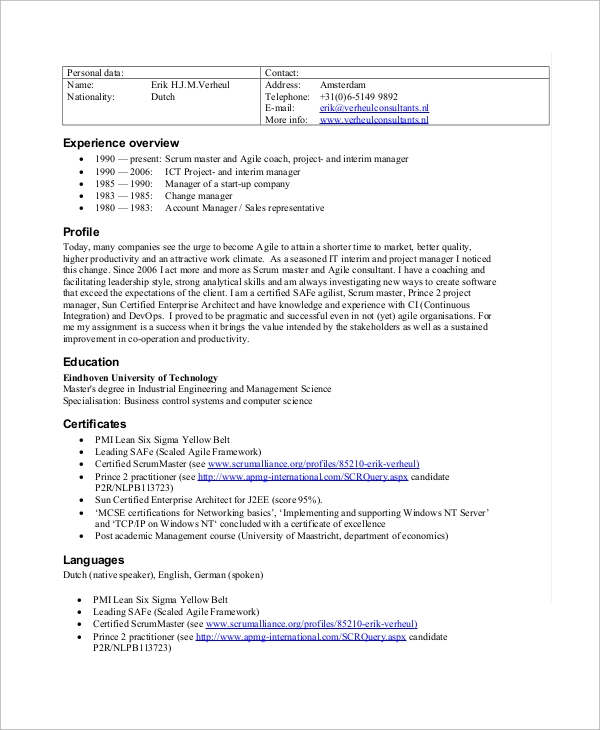 Free 8 Sample Scrum Master Resume Templates In Pdf