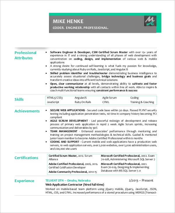 experienced scrum master resume