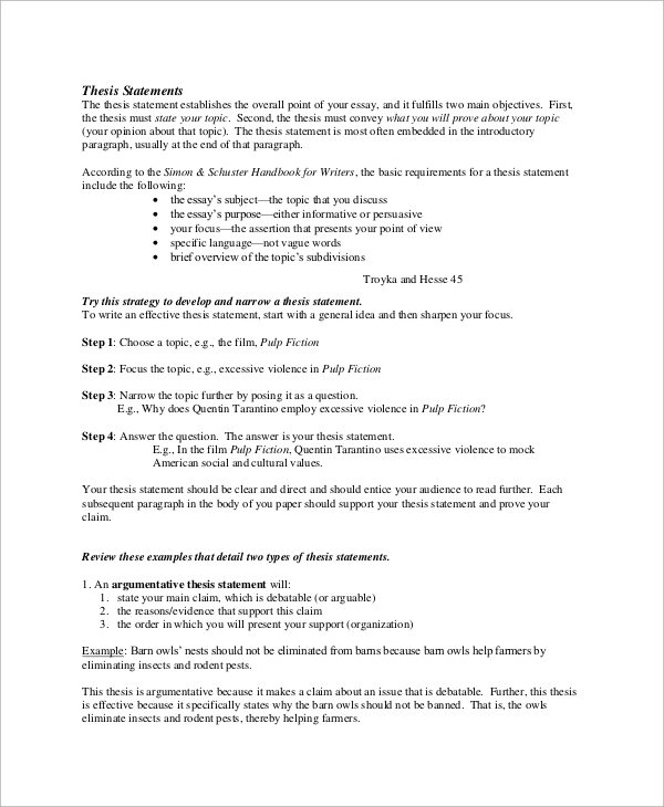 sample thesis statement    examples in word pdf
