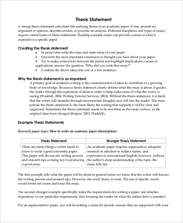 Proposal Essay Topics Ideas  Thesis Statement Essay Example also How To Start A Synthesis Essay Sample Thesis Statement   Examples In Word Pdf English Language Essay