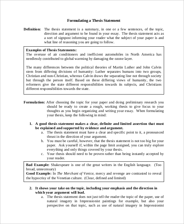 10 Sample Thesis Statements Sample Templates