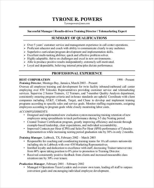Sample Customer Service Representative Resume - 7+ Examples in PDF ...
