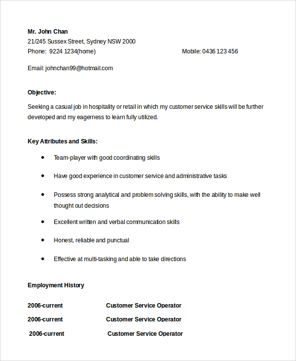 resume cover letter for customer service representative