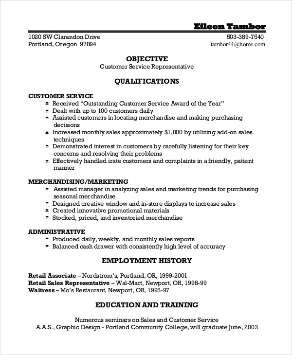 customer service representative resume objective - Customer Service Representative Resume