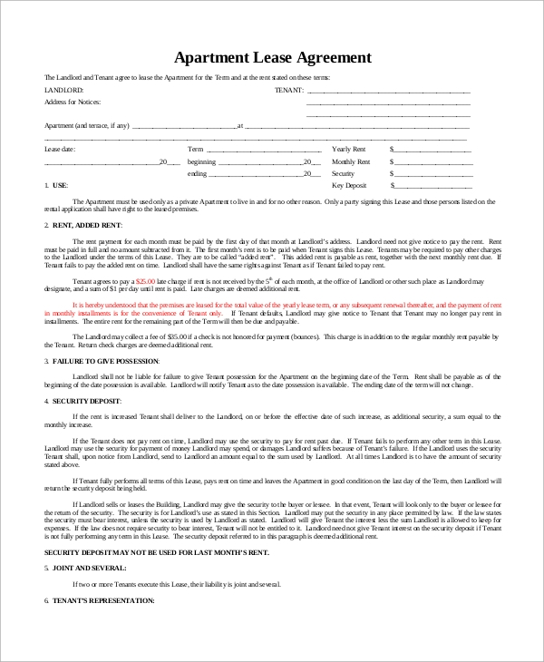 9 Sample Basic Lease Agreements Sample Templates