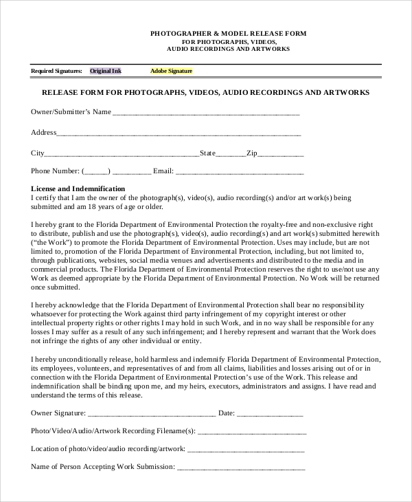 photographic release form template - 9 sample video release forms sample templates