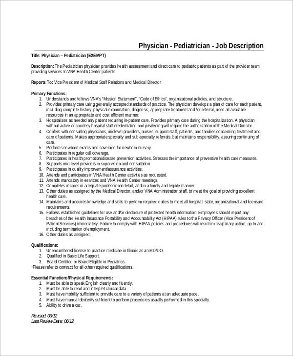 pediatrician doctor job description sample - Pediatrician Description