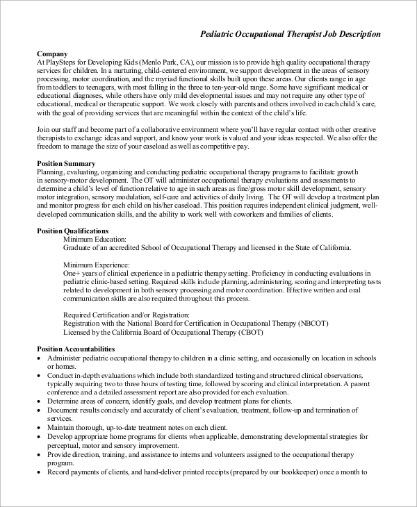 pediatric occupational therapist job description
