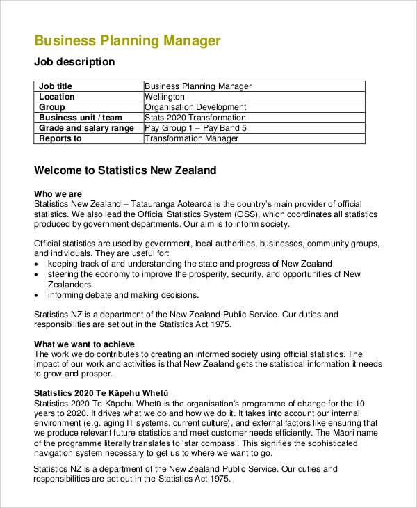 Sample Business Manager Job Description - 8+ Examples In Pdf, Word
