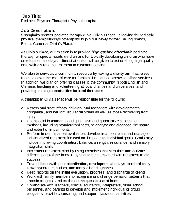 Sample Pediatrician Job Description   Examples In Pdf