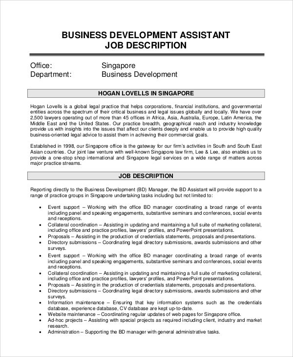 Assistant Manager Job Description Retail Assistant Manager Job – Word Job Description Template