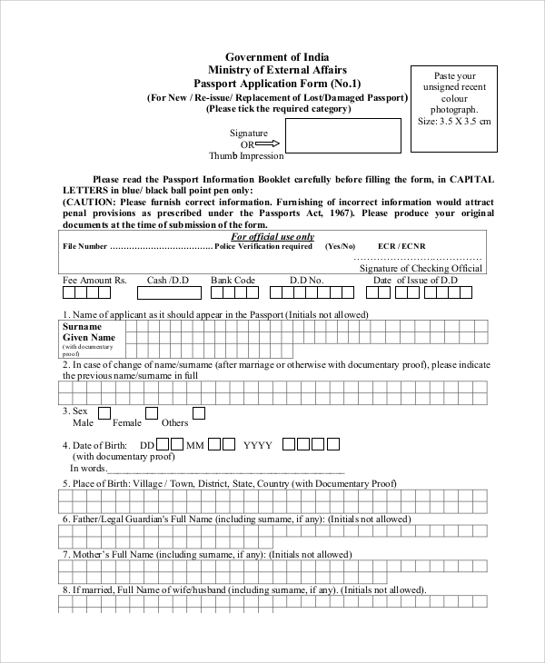 Sample lost passport form 8 examples in pdf application form for lost passport spiritdancerdesigns Choice Image