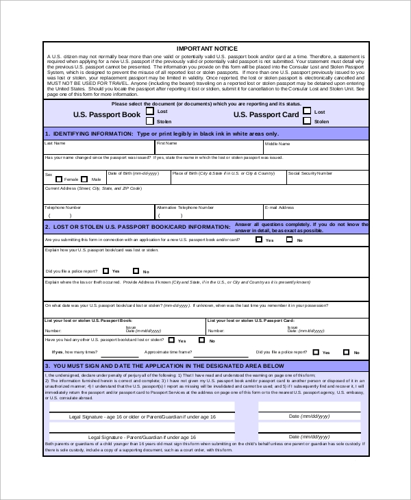 Sample lost passport form 8 examples in pdf lost or stolen passport form spiritdancerdesigns Choice Image