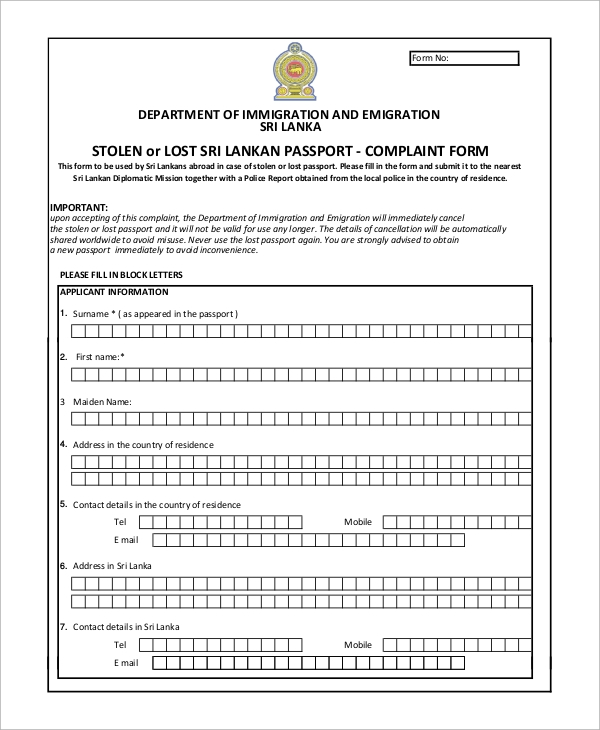 lost passport complaint form