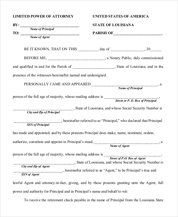 Sample Limited Power Of Attorney Form   Examples In Pdf Word