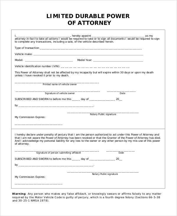 10 Sample Limited Power Of Attorney Forms Sample Templates