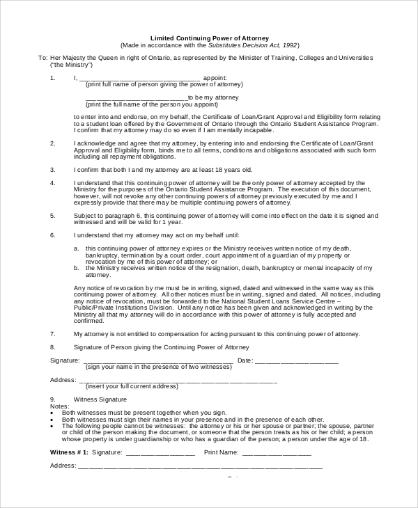 limited continuing power of attorney form