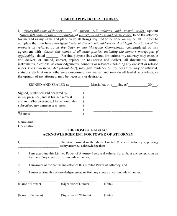 limited power of attorney form for acknowledgement example