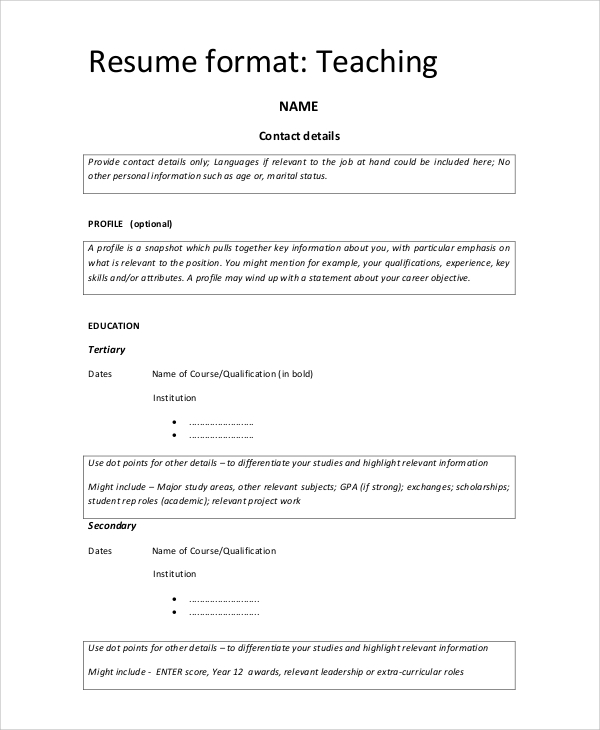 free 9  simple resume format in ms word