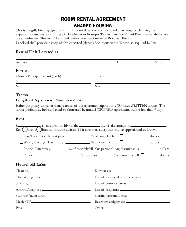 room rental agreement form2