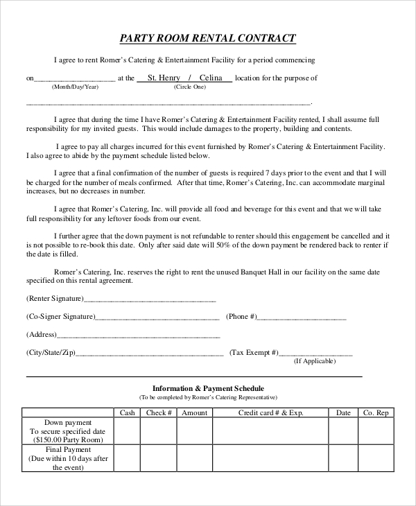 Sample Room Rental Agreement   Examples In Word Pdf