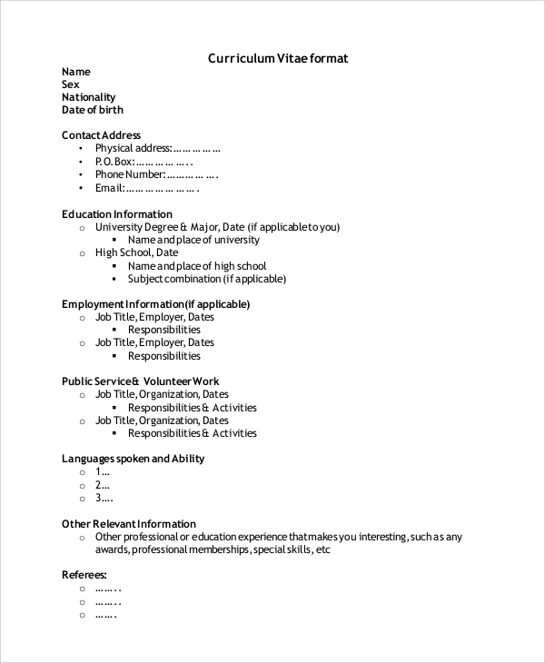 Free 9 Simple Resume Format In Ms Word Pdf