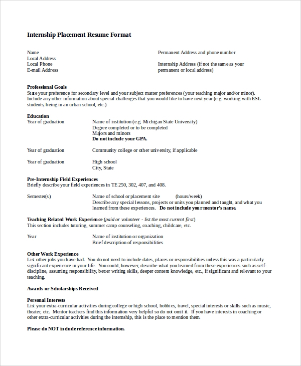 simple resume format for internship