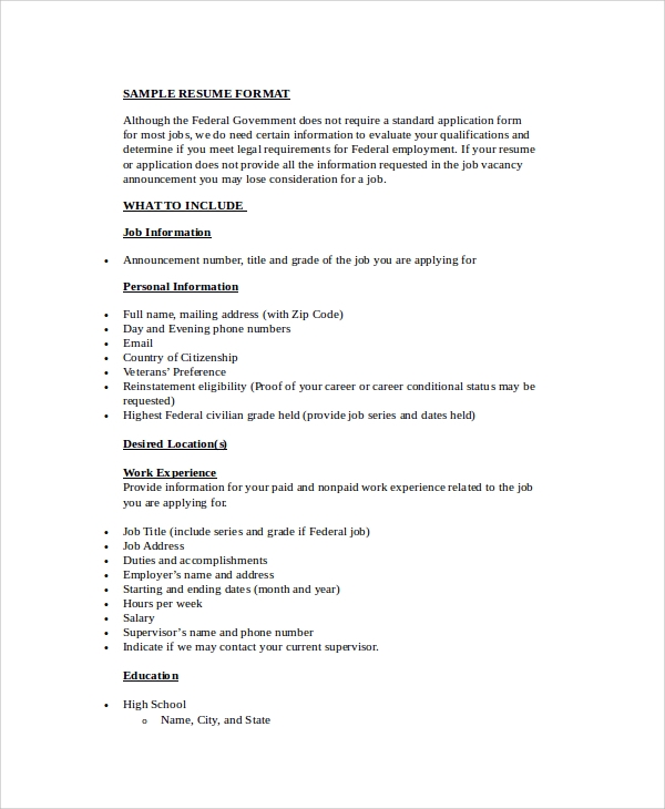 simple resume format 9 exles in word pdf
