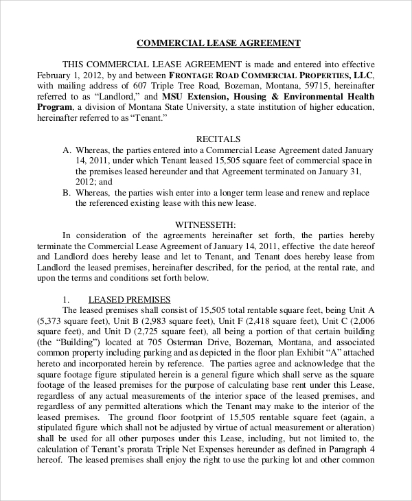 Standard Lease Agreement Sample   Examples In Pdf Word