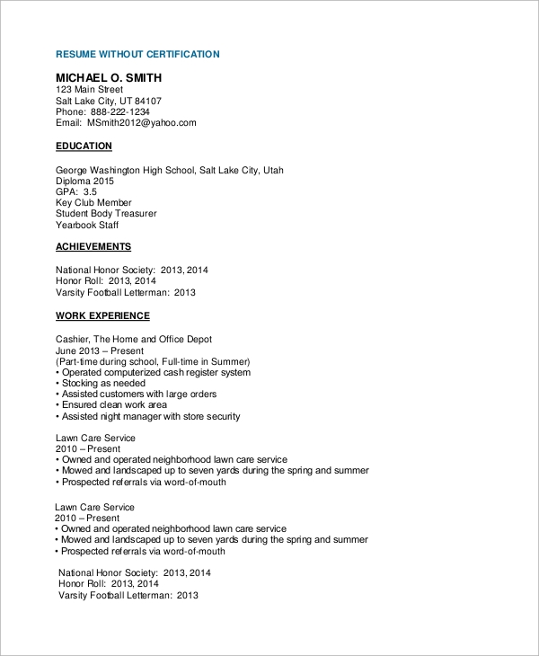 high school cv without certification