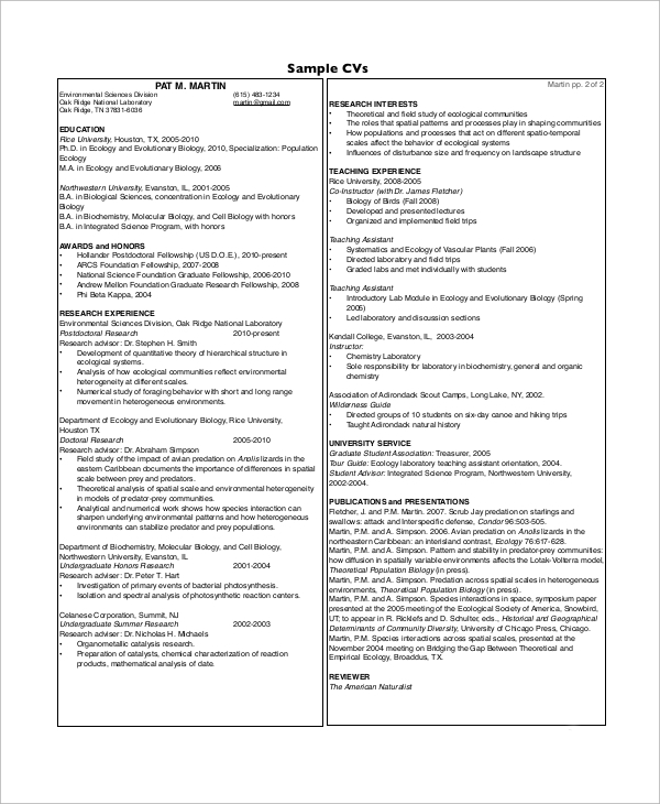 Sample High School CV - 10+ Examples in Word, PDF