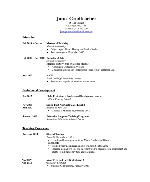 high school teacher cv