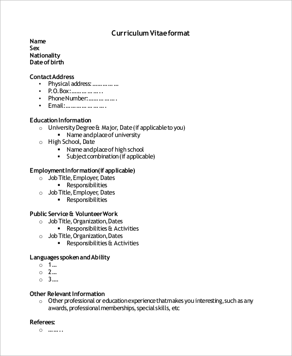 cv format for high school students1