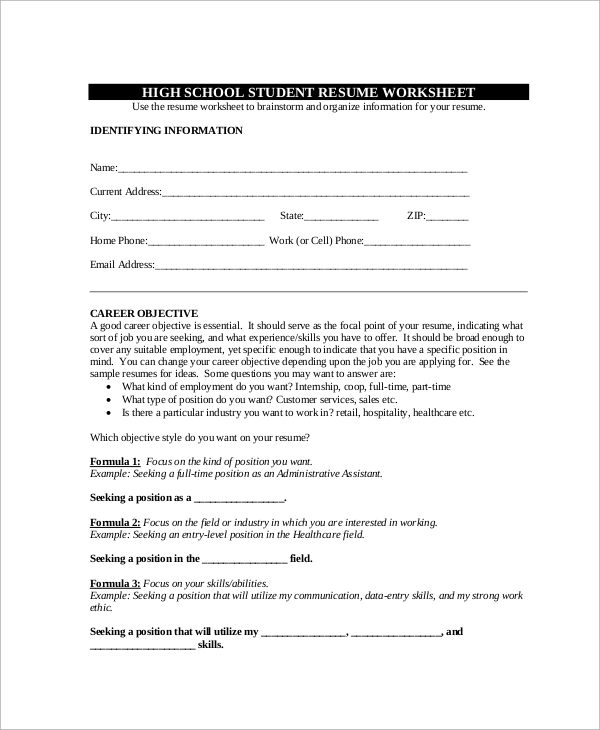 high school cv worksheet