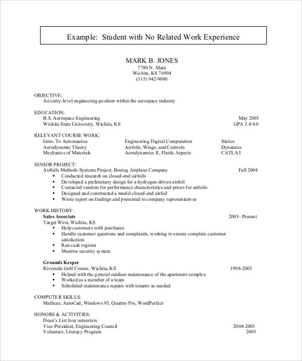 Resume examples no experience college students