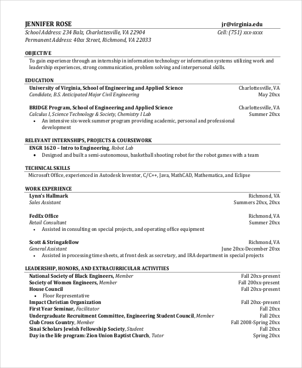 engineering internship resume research intern resume wwwqhtypm resume for engineering student engineering student sample resume - Bridge Engineer Sample Resume