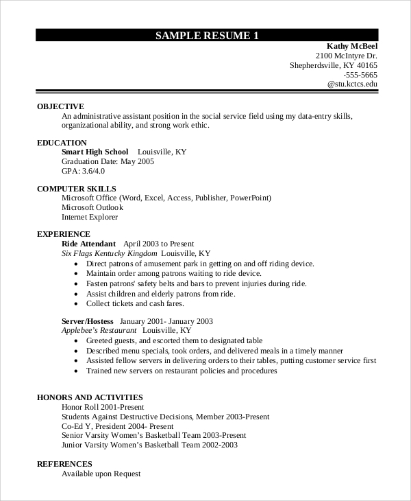 Sample Job Resumes Examples: Sample Resume For College Student