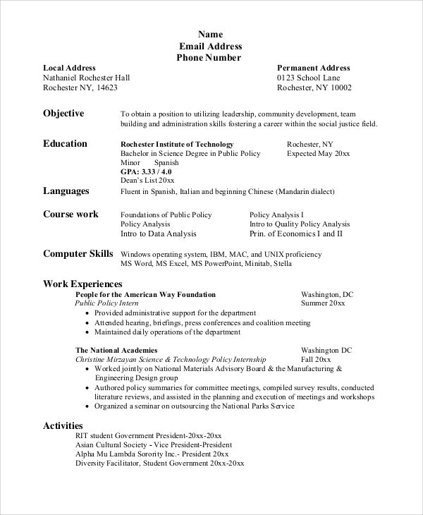 Sample Resume For College Student - 10+ Examples In Word, Pdf