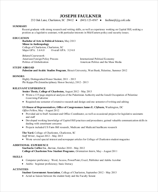 free 10  sample resume for college student in ms word