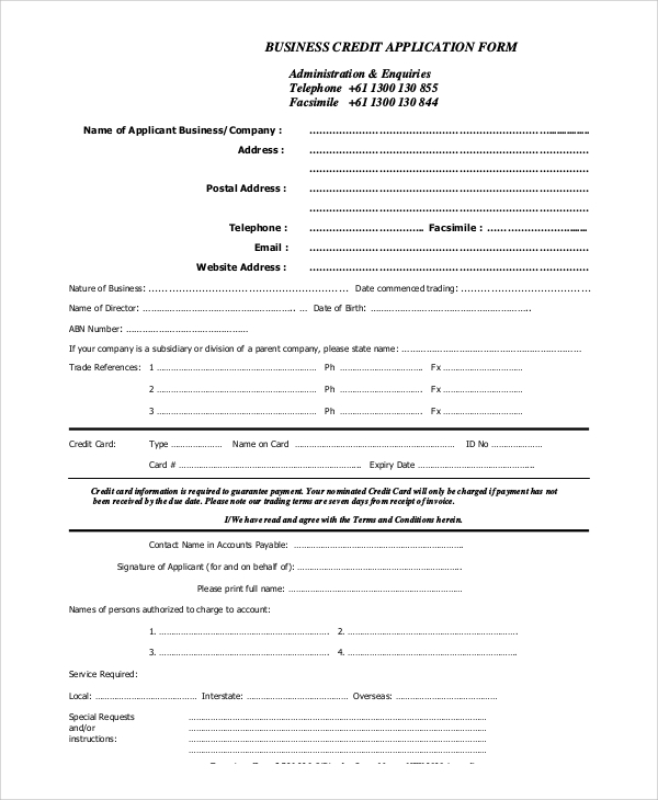 10 sample credit applications sample templates credit application form for business altavistaventures Choice Image