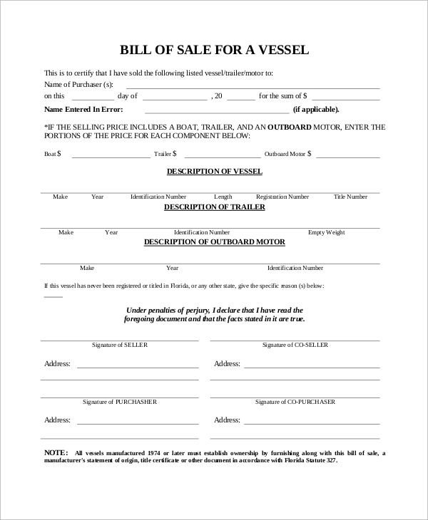 sample trailer bill of sale vessel bill of sale form