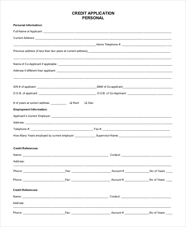 personal credit application form