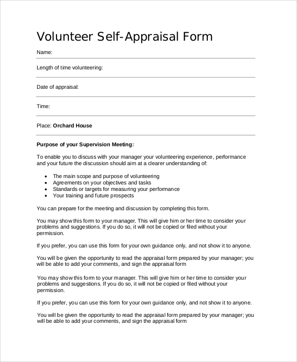 Volunteer Self Appraisal Form Sample  Employee Appraisal Form Sample