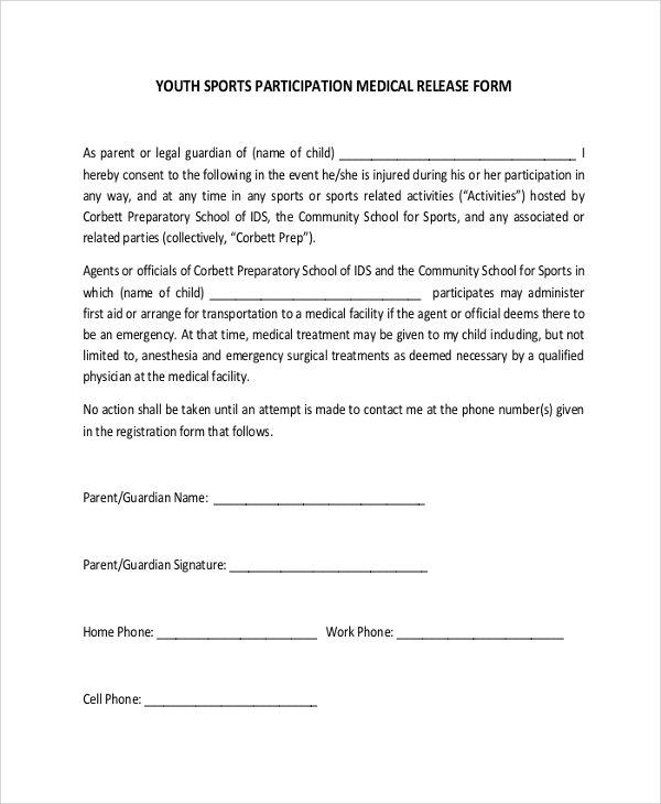 Sample Youth Sports Medical Release Form