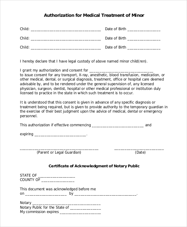 consent for medical treatment of a minor form 9 sample forms pdf doc sample templates 19156