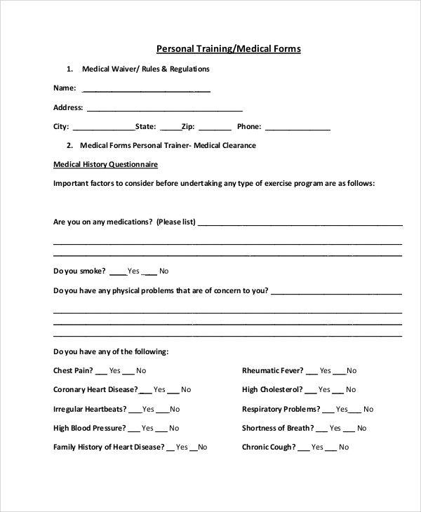Sample Medical Form   Examples In Word Pdf