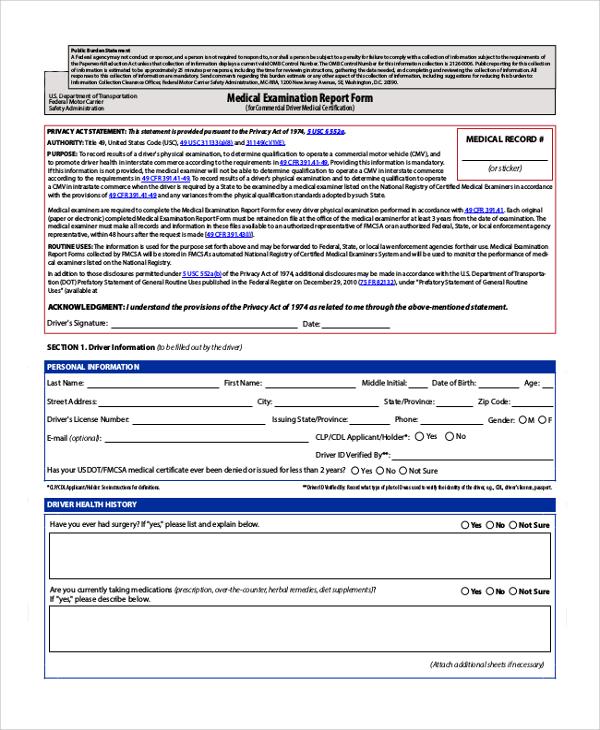 medical examination report form
